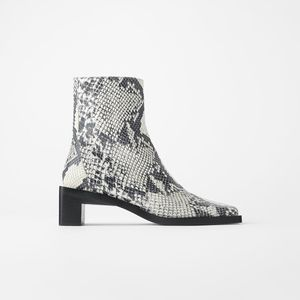 Zara leather squares toe ankle boots